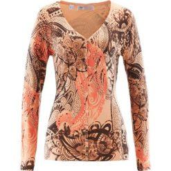 Sweter rozpinany bonprix brzoskwiniowo-brązowy. Brązowe swetry rozpinane damskie marki bonprix. Za 37,99 zł.