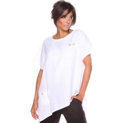 """Bluzki asymetryczne: Lniana koszulka """"Lev"""" w kolorze białym"""