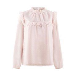 Bluzka z falbankami. Szare bluzki ażurowe marki Promod, eleganckie, z dekoltem na plecach, z długim rękawem. Za 139,90 zł.
