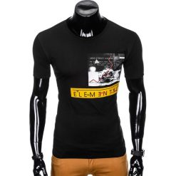 T-SHIRT MĘSKI Z NADRUKIEM S985 - CZARNY. Czarne t-shirty męskie z nadrukiem marki Ombre Clothing, m, z bawełny, z kapturem. Za 29,00 zł.