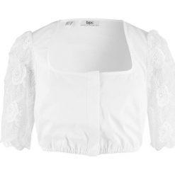 Bluzka ludowa z koronkowymi rękawami bonprix biały. Białe bluzki z odkrytymi ramionami bonprix, z koronki. Za 89,99 zł.