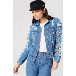 Bomberki damskie: Rebecca Stella Kurtka jeansowa z rozdarciami - Blue