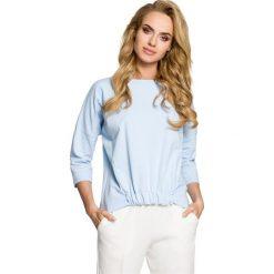 PHOENIX Bluza z gumką z przodu - błękitna. Niebieskie bluzy rozpinane damskie Moe, s, z dzianiny, z krótkim rękawem, krótkie. Za 109,00 zł.