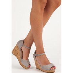 Sandały damskie: JULITA sandały na korkowej koturnie szare