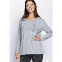 Jasnoszara Bluzka Feel Love. Szare bluzki longsleeves Born2be, xl, z aplikacjami, z okrągłym kołnierzem. Za 34,99 zł.