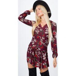 Sukienki: Sukienka w kwiaty bordowa 6493