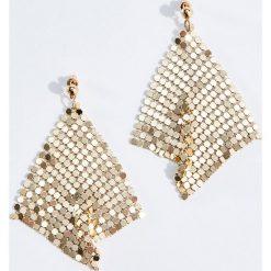 Kolczyki damskie: Błyszczące geometryczne kolczyki - Złoty