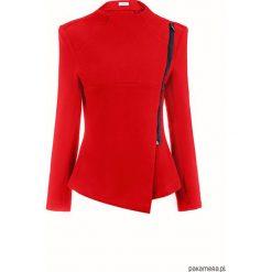 Czerwona nowoczesna bluza damska z zamkiem. Czerwone bluzy rozpinane damskie Pakamera, w geometryczne wzory, z bawełny. Za 149,00 zł.