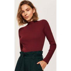 Bluzki damskie: Dzianinowa bluzka z półgolfem - Bordowy