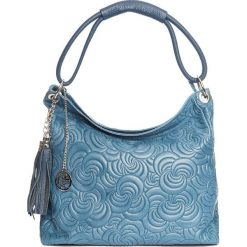 Torebki klasyczne damskie: Skórzana torebka w kolorze niebieskim – 40 x 49 x 14 cm