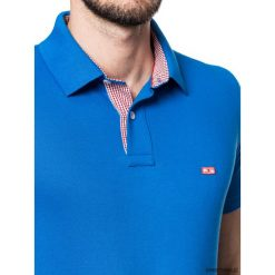 Koszulki męskie: Koszulka polo niebieska z kratką