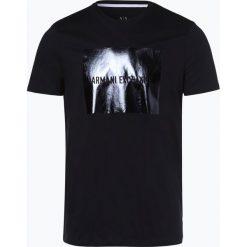 Armani Exchange - T-shirt męski, niebieski. Czarne t-shirty męskie z nadrukiem marki Armani Exchange, l, z materiału, z kapturem. Za 249,95 zł.