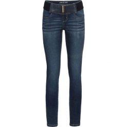 Dżinsy SKINNY z paskiem bonprix ciemny denim. Niebieskie jeansy damskie skinny marki House, z jeansu. Za 129,99 zł.