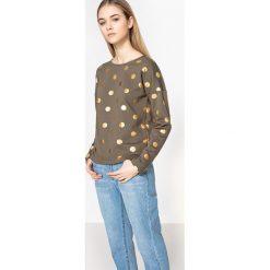 Bluza w złote groszki. Brązowe bluzy damskie ONLY, l, w grochy, z bawełny, z długim rękawem, długie. Za 102,86 zł.