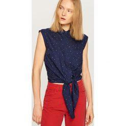Koszula bez rękawów - Granatowy. Białe koszule damskie marki Reserved, l, z dzianiny. W wyprzedaży za 24,99 zł.