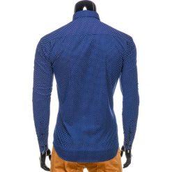 KOSZULA MĘSKA ELEGANCKA Z DŁUGIM RĘKAWEM K326 - GRANATOWA/BIAŁA. Brązowe koszule męskie marki Ombre Clothing, m, z aplikacjami, z kontrastowym kołnierzykiem, z długim rękawem. Za 39,00 zł.