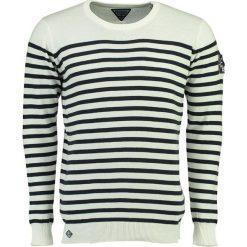 """Swetry klasyczne męskie: Sweter """"Frontal"""" w kolorze biało-granatowym"""