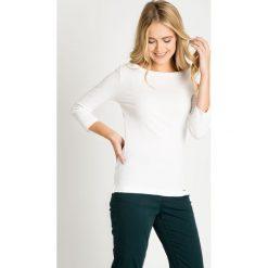 Bluzki damskie: Biała bluzka basic z rękawem 3/4 QUIOSQUE