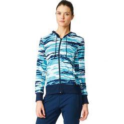 Bluzy damskie: Adidas Bluza damska Essentials Hoody All Over Print granatowo-niebieska r. 2XS (AY4877)