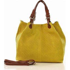 Kuferki damskie: Skórzana torebka shopper MAZZINI – LINDA żółta sunflower