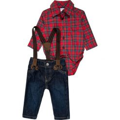 Chinosy chłopięce: Carter's BOY HOLIDAY PLAID SUSPENDER BABY SET  Jeansy Straight Leg red