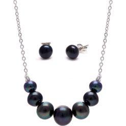 Zestaw z perłami w kolorze czarnym - kolczyki, naszyjnik. Żółte kolczyki damskie marki METROPOLITAN, pozłacane. Za 69,95 zł.