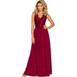 Bordowa Wieczorowa Sukienka Maxi z Koronkową Górą bez Rękawów. Szare długie sukienki marki QUIOSQUE, do pracy, uniwersalny, w jednolite wzory, z materiału, wizytowe, z dekoltem na plecach, ołówkowe. Za 279,90 zł.