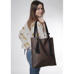 Torba brown Ribbon. Brązowe torebki klasyczne damskie Pakamera, z bawełny. Za 145,00 zł.