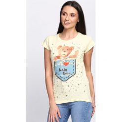Żółty T-shirt Teddy Bear. Żółte bluzki damskie marki Mohito, l, z dzianiny. Za 14,99 zł.