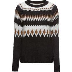 Sweter żakardowy z lureksową nitką bonprix czarno-biel wełny - złocisty. Czarne swetry klasyczne damskie marki bonprix, z dzianiny. Za 109,99 zł.