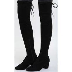 Czarne Kozaki Backstage Queen. Czarne buty zimowe damskie marki Kazar, ze skóry, przed kolano, na wysokim obcasie, na obcasie. Za 114,99 zł.