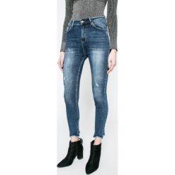 Answear - Jeansy. Niebieskie jeansy damskie rurki ANSWEAR, z bawełny, z podwyższonym stanem. W wyprzedaży za 99,90 zł.