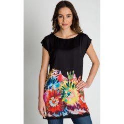 Bluzki asymetryczne: Elegancka czarna bluzka z krótkim rękawem BIALCON
