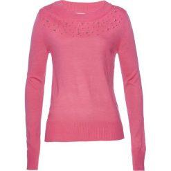 Sweter z perełkami bonprix pastelowy dymny różowy. Czerwone swetry klasyczne damskie bonprix. Za 109,99 zł.