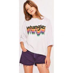Wrangler - Bluza. Szare bluzy z nadrukiem damskie Wrangler, l, z bawełny, bez kaptura. Za 199,90 zł.