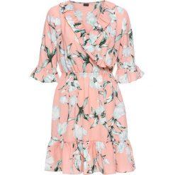 Sukienki: Sukienka z założeniem kopertowym bonprix morelowy z nadrukiem