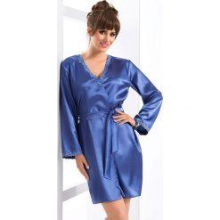 Elegancki szlafrok Gloria. Niebieskie szlafroki kimona damskie Astratex, l, z aplikacjami, z koronki. Za 164,99 zł.