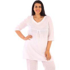 Tuniki damskie: Lniana tunika w kolorze białym