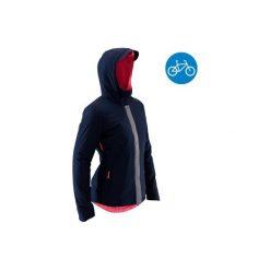 Ciepła kurtka przeciwdeszczowa na rower 900 damska. Czerwone kurtki damskie przeciwdeszczowe marki DOMYOS, z elastanu. Za 219,99 zł.
