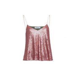 Różowa cekinowa bluzka. Czerwone bluzki damskie marki MROVCA, z tkaniny. Za 299,00 zł.