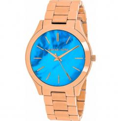 """Zegarek kwarcowy """"Slim Runway"""" w kolorze niebiesko-różowozłotym. Żółte, analogowe zegarki damskie marki Michael Kors, ze stali. W wyprzedaży za 454,95 zł."""