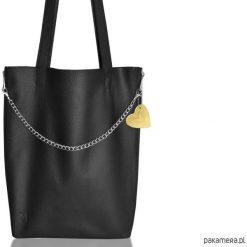 Duża torba z zamkami - skóra naturalna. Czarne torebki klasyczne damskie Pakamera, ze skóry, duże. Za 285,00 zł.