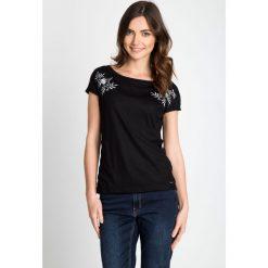 Bluzki damskie: Czarna bluzka ze srebrnym wzorem QUIOSQUE