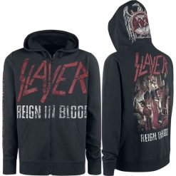 Slayer Reign In Blood Bluza z kapturem rozpinana czarny. Czarne bluzy męskie rozpinane Slayer, s, z nadrukiem, z kapturem. Za 199,90 zł.