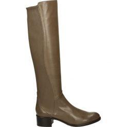Kozaki - 9118 NAP TAUP. Brązowe buty zimowe damskie marki Kazar, ze skóry, przed kolano, na wysokim obcasie. Za 999,00 zł.