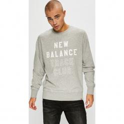New Balance - Bluza. Szare bluzy męskie rozpinane marki New Balance, l, z nadrukiem, z bawełny, bez kaptura. W wyprzedaży za 219,90 zł.