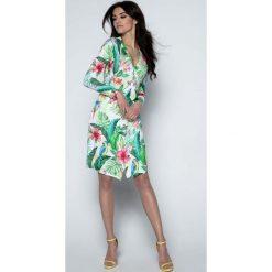 Sukienka Kopertowa w Różnokolorowe Tropikalne Motywy. Czarne sukienki marki bonprix, do pracy, w paski, biznesowe, moda ciążowa. Za 169,90 zł.