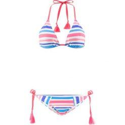 Stroje kąpielowe damskie: Bikini z trójkątnymi miseczkami (2 części) bonprix niebiesko-koralowo-srebrny