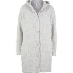 Długi sweter rozpinany z puszystej przędzy bonprix jasnoszary melanż. Szare kardigany damskie marki bonprix, melanż. Za 99,99 zł.