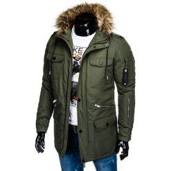 KURTKA MĘSKA ZIMOWA C382 - KHAKI. Brązowe kurtki męskie zimowe Ombre Clothing, m. Za 151,20 zł.